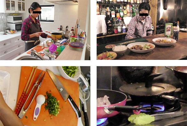 主婦と小規模飲食店の調理行動において撮影された調理風景の写真。まな板に一時的に集まる菜箸、トング、計量スプーン、コンロの上に一時的に置かれるトングなど。