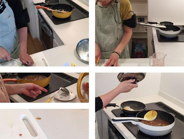 プロトタイプを使った検証評価の写真2。初代レミパンは火をかけたまま鍋肌にお玉を一時置きしたり、一時起きするための小皿を出す必要がある。レミパンプラスはフライパンのハンドル上にお玉の一時置きが可能。